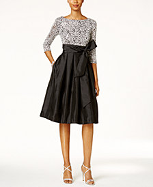 Jessica Howard Sequined Lace Taffeta Fit & Flare Dress
