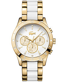 Lacoste Women's Charlotte Gold-Tone Stainless Steel and White TR90 Bracelet Watch 40mm 2000963