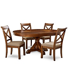 Mandara Expandable Round Furniture, 5-Pc. Set (Round Dining Trestle Table & 4 X-Back Side Chairs)