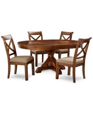 Mandara Expandable Round Furniture, 5 Pc. Set (Round Dining Trestle Table U0026
