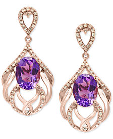 EFFY® Amethyst (4-1/5 ct. t.w.) & Diamond (1/3 ct. t.w.) Drop Earrings in 14k Rose Gold