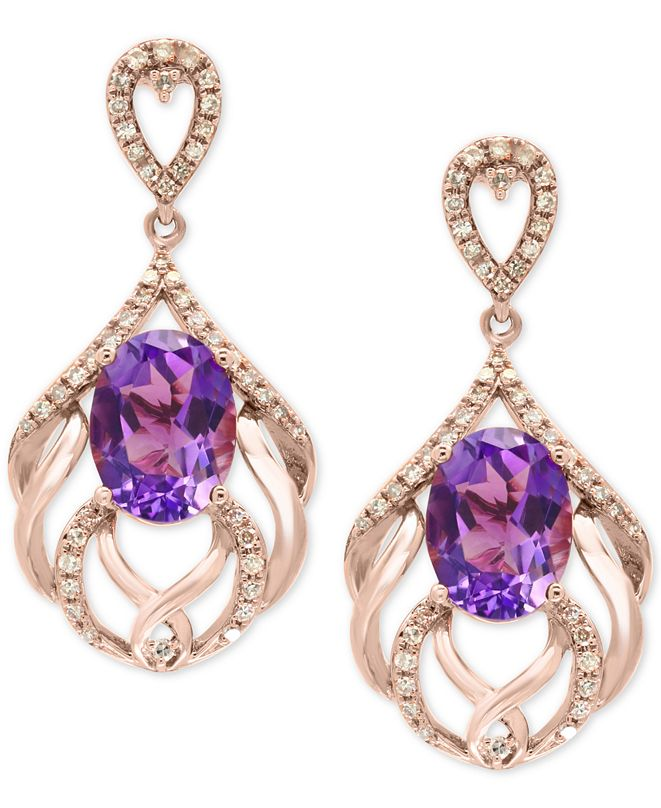 EFFY Collection EFFY® Amethyst (4-1/5 ct. t.w.) & Diamond (1/3 ct. t.w.) Drop Earrings in 14k Rose Gold