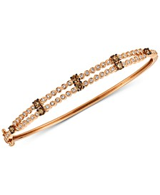 Chocolatier® Diamond Two-Row Bangle Bracelet (1-1/10 ct. t.w.) in 14k Rose Gold