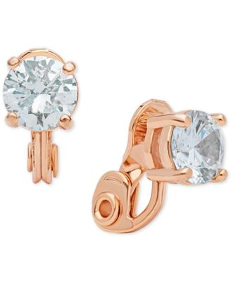 Image of Anne Klein Crystal Solitaire Clip-on Earrings