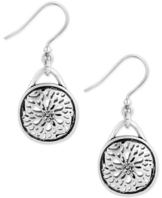 Image of Lucky Brand Silver-Tone Disc Drop Earrings