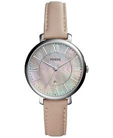 Fossil Women's Jacqueline Pink Leather Strap Watch 36mm ES4151