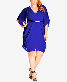 City Chic Trendy Plus Size Draped Chiffon Dress
