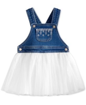 Image of First Impressions Embroidered Denim & Tulle Jumper Dress, Baby Girls (0-24 months), Only at Macy's