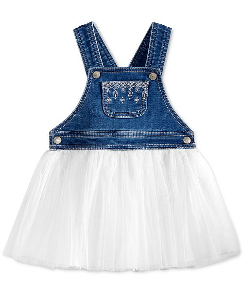 112ec93d4 First Impressions Baby Girls Embroidered Denim & Tulle Jumper Dress,  Created for Macy's