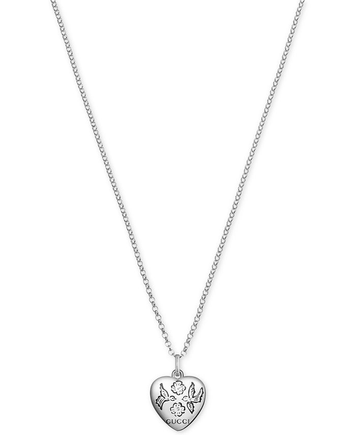 Gucci - Women's Blind for Love Sterling Silver Heart Pendant Necklace YBB45554200100U