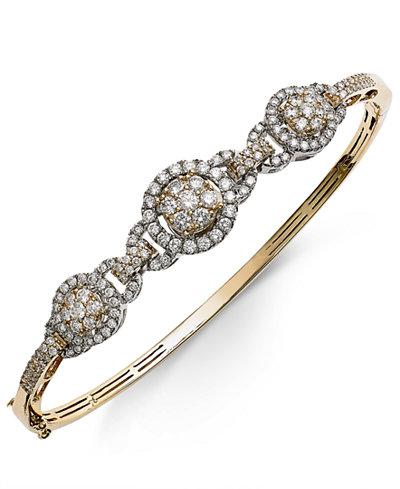 Diamond Pavé Bangle Bracelet (2 ct. t.w.) in 14k Gold and White Gold