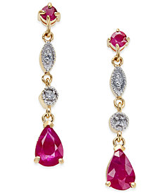 Ruby (1-1/5 ct. t.w.) and Diamond Accent Drop Earrings in 14k Gold