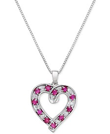 Ruby (1-1/10 ct. t.w.) and Diamond (1/10 ct. t.w.) Heart Pendant Necklace in Sterling Silver