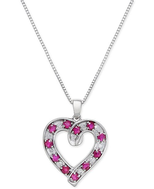 Macy's Ruby (1-1/10 ct. t.w.) and Diamond (1/10 ct. t.w.) Heart Pendant Necklace in Sterling Silver