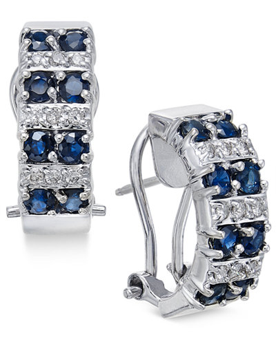 Sapphire (1-5/8 ct. t.w.) and Diamond (1/4 ct. t.w.) Curved Drop Earrings in 14k White Gold