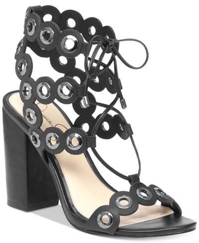 Jessica Simpson Kariss Strappy Embellished Block-Heel Sandals