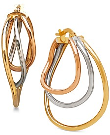 Italian Gold Triple Hoop Earrings in 14k White, Yellow & Rose Gold