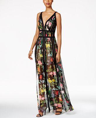 Tadashi Shoji Fl Print A Line Gown