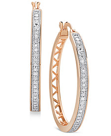 Diamond Openwork Hoop Earrings (1/4 ct. t.w.) in Sterling Silver, 18K Gold-Plated Sterling Silver, and 18K Rose Gold-Plated Sterling Silver