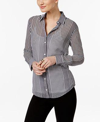 MICHAEL Michael Kors Sheer Striped Shirt