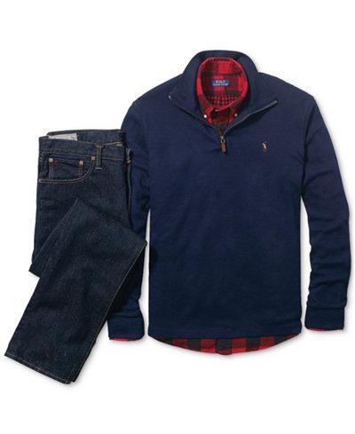 Polo Ralph Lauren Men's Sport Shirt, Half-Zip Sweater & Straight-Fit Jeans