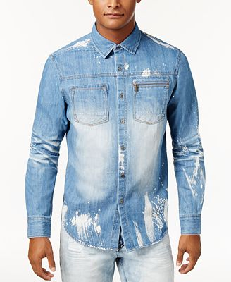 Sean John Men's Denim Shirt, Created for Macy's - Casual Button ...