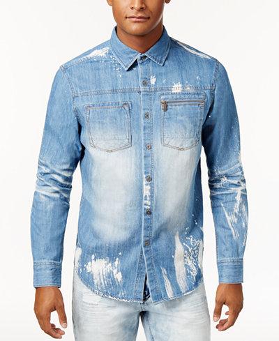 Sean John Men's Denim Shirt, Created for Macy's - Casual Button ...
