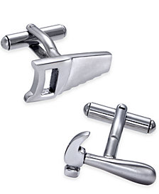 Sutton by Rhona Sutton Men's Stainless Steel Hammer and Saw Cuff Links