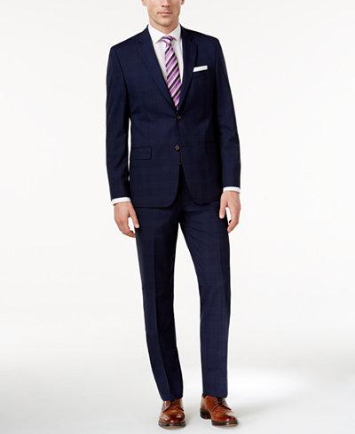 Lauren Ralph Lauren Men's Slim-Fit Navy Plaid Wool Suit - Sale ...