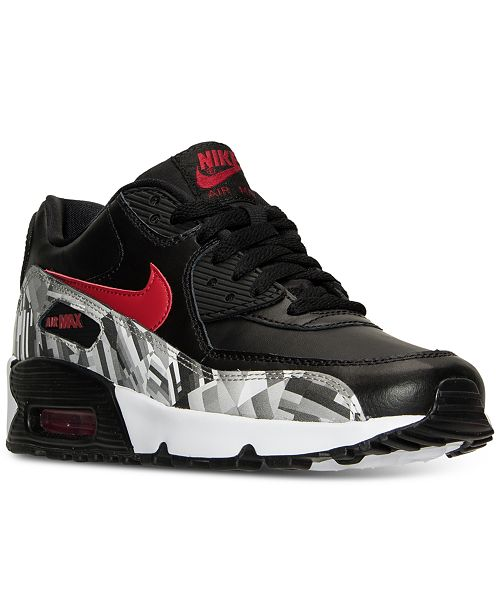 sale retailer 556c9 8823a ... Nike Big Boys  Air Max 90 Print Leather Running Sneakers from Finish ...