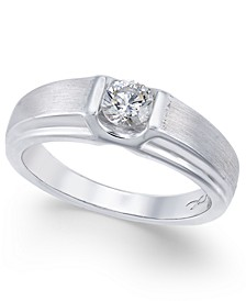 Certified Diamond Men's Band (1/2 ct. t.w.) in 18k White Gold, Created for Macy's