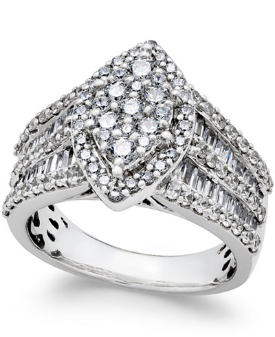 Diamond Large Cluster Engagement Ring (2 ct. tw.) in 14k White Gold