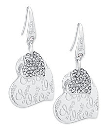 GUESS Silver-Tone Pavé Heart Drop Earrings
