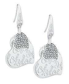 GUESS Silver-Tone Pavé Heart Drop Earrings