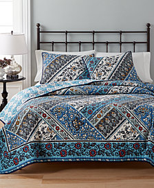 CLOSEOUT! Martha Stewart Collection  100% Cotton Antique Market Reversible Full/Queen Quilt, Created for Macy's