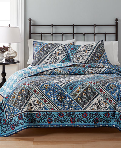 CLOSEOUT! Martha Stewart Collection 100% Cotton Antique Market Reversible Twin Quilt, Created for Macy's