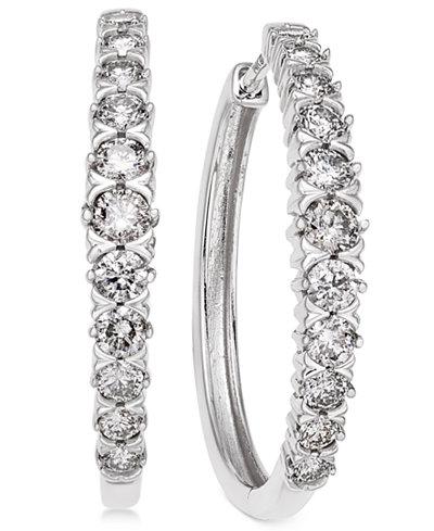 Diamond Hoop Earrings (1-1/2 ct. t.w.) in 14k White Gold