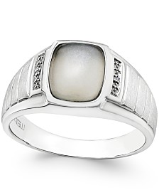 Men's Moonstone (10 x 8mm) and Diamond Accent Ring in Sterling Silver