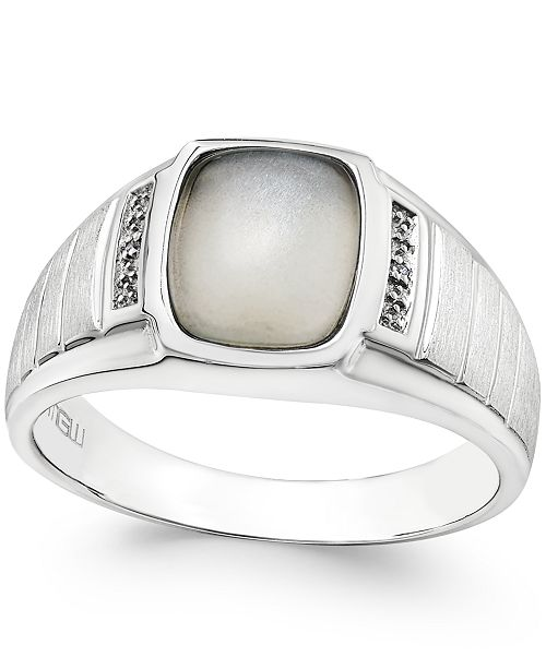 Macy's Men's Moonstone (10 x 8mm) and Diamond Accent Ring in Sterling Silver