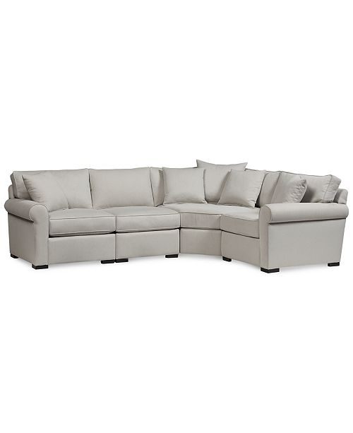 CLOSEOUT! Astra 4-Pc  L Shaped Fabric Sectional, Created for Macy's