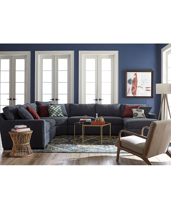 furniture radley 5piece fabric chaise sectional sofa