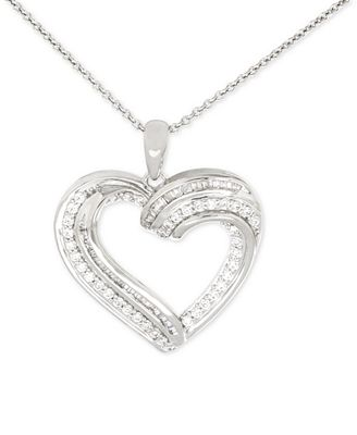 Diamond Heart Pendant Necklace (1/2 ct. t.w.) in Sterling Silver
