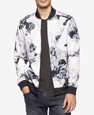 Calvin Klein Men's Black and White Floral Jacket