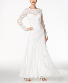 Adrianna Papell Beaded Illusion Sweetheart Gown