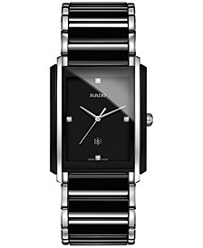 Men's Swiss Integral Diamond Accent Black Ceramic and Stainless Steel Bracelet Watch 31mm R20206712