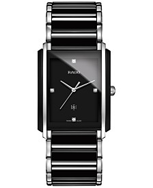 Rado Men's Swiss Integral Diamond Accent Black Ceramic and Stainless Steel Bracelet Watch 31mm R20206712
