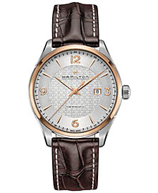 Hamilton Men's Swiss Automatic Jazzmaster Viewmatic Brown Leather Strap Watch 44mm H42725551