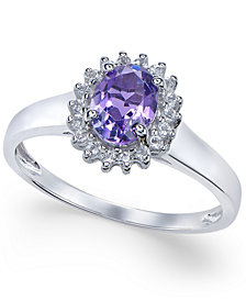 Amethyst (1 ct. t.w.) and White Topaz (1/6 ct. t.w.) Ring in 10k White Gold