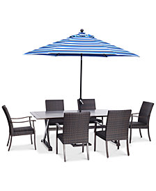 "CLOSEOUT! Savannah Outdoor 7-Pc. Dining Set (84"" x 42"" Rectangle Dining Table & 6 Dining Chairs), Created for Macy's"