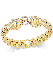 Diamond Lion Link Bracelet (1/2 ct. t.w.) in 14k Gold-Plated Sterling Silver